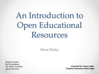 An Introduction to Open Educational Resources