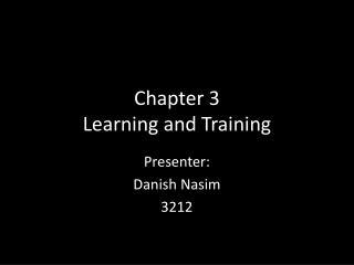 Chapter 3 Learning and Training