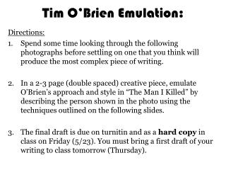 Tim O'Brien Emulation:
