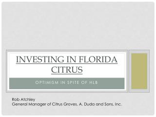 Investing in Florida Citrus