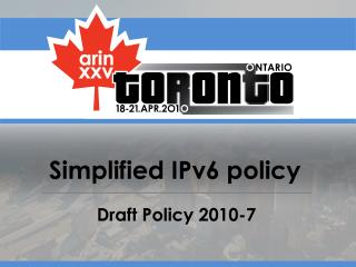 Simplified IPv6 policy
