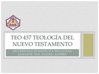 Teo 437 Teología del Nuevo Testamento