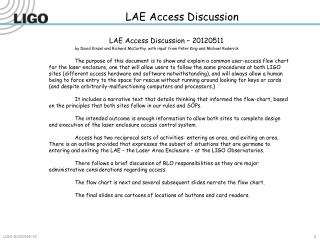 LAE Access Discussion