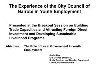 The Experience of the City Council of Nairobi in Youth Employment