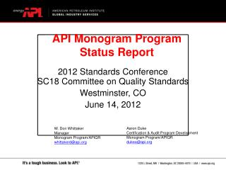 2012 Standards Conference SC18 Committee on Quality Standards Westminster, CO June 14, 2012