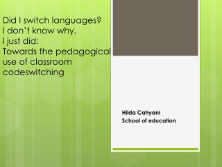 Hilda Cahyani School of education