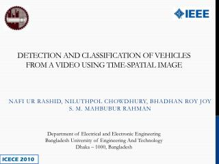 Detection and Classification of Vehicles from a video using Time-Spatial Image
