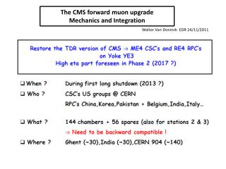 The CMS forward muon upgrade Mechanics and Integration