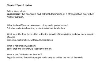 Chapter 17 part 1 review Define Imperialism :