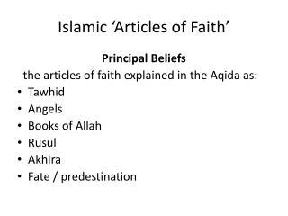 Islamic �Articles of Faith�