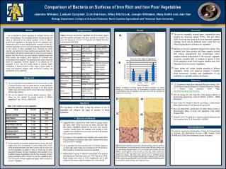 Comparison of Bacteria on Surfaces of Iron Rich and Iron Poor Vegetables