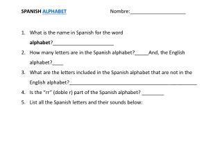 SPANISH  ALPHABET Nombre :____________________
