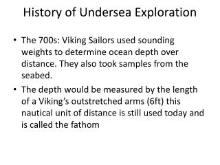 History of Undersea Exploration