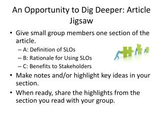 An Opportunity to Dig Deeper: Article Jigsaw