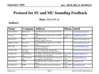 Protocol for SU and MU Sounding Feedback