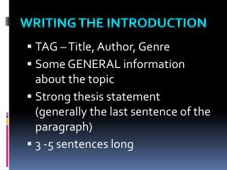 TAG – Title, Author, Genre Some GENERAL information about the topic