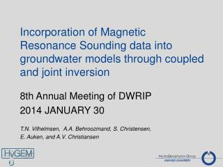 8th Annual Meeting  of DWRIP  2014 JANUARY 30