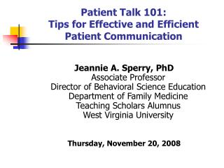 Patient Talk 101: Tips for Effective and Efficient Patient Communication