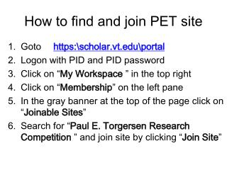 How to find and join PET site