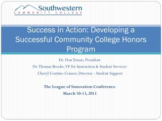 Success in Action: Developing a Successful Community College Honors Program