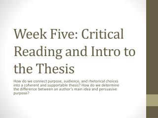 Week Five: Critical Reading and Intro to the Thesis