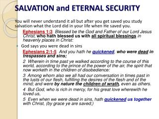 SALVATION and ETERNAL SECURITY