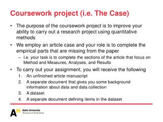Coursework project (i.e. The Case)