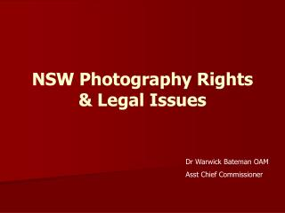 NSW Photography Rights  Legal Issues