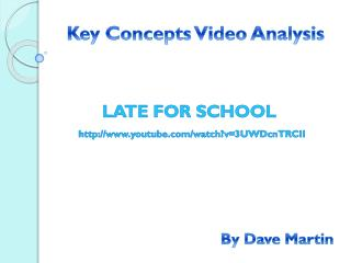 Key Concepts Video Analysis