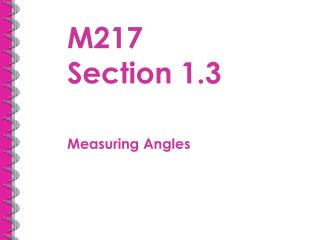 M217  Section 1.3