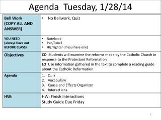 Agenda  Tuesday, 1/28/14