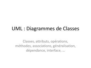 UML : Diagrammes de Classes