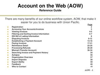 Account on the Web (AOW) Reference Guide