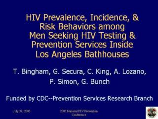 Los Angeles Bathhouse Study: Elements of an Innovative HIV ...