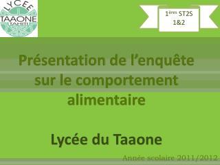Présentation de l'enquête sur le comportement alimentaire  Lycée du  Taaone