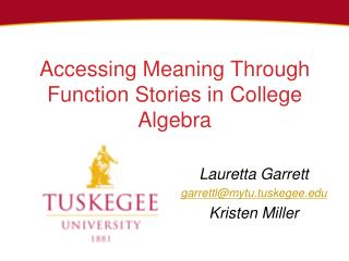 Accessing  Meaning Through Function Stories  in  College  A lgebra