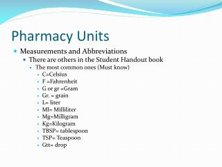 Pharmacy Units
