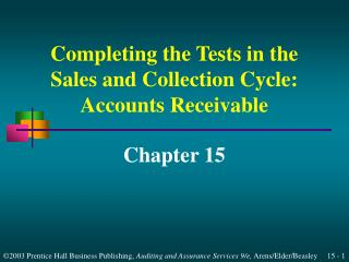Accounts Receivable Tests of Balances