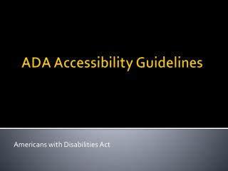 ADA/ABA Accessibility Guidelines