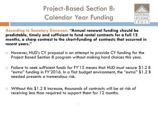 Project-Based Section 8:  Calendar Year Funding