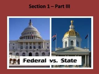 Section 1 – Part III