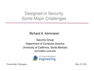 Designed-in Security Some Major Challenges
