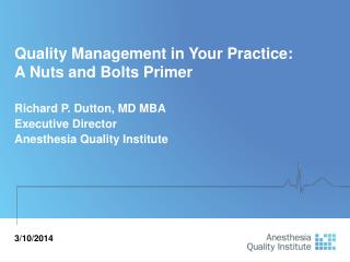 Quality Management in Your Practice