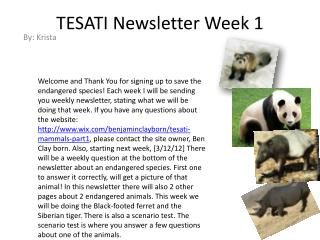 TESATI Newsletter Week 1
