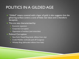 Politics in a Gilded Age