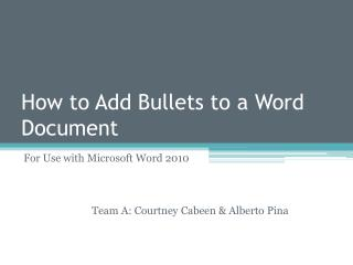How to Add Bullets to a Word Document