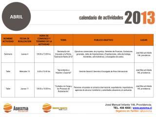 José Manuel Infante 146, Providencia. TEL. 498 4000 /  www.asexma.cl
