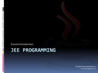 JEE Programming