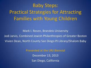 Baby Steps: Practical Strategies for Attracting  Families with Young Children
