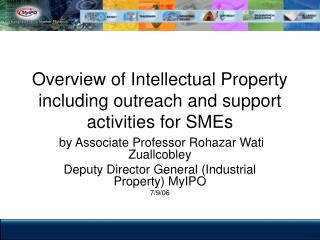 Overview of Intellectual Property including outreach and support activities for SMEs
